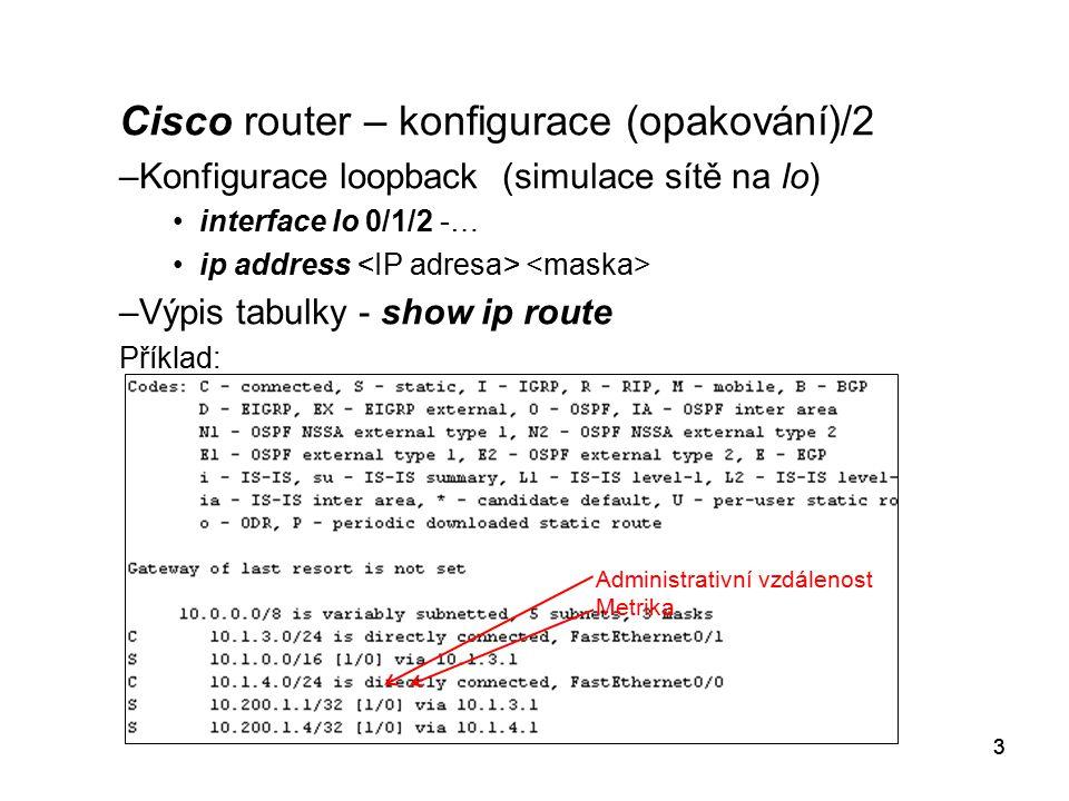 Cisco router – konfigurace (opakování)/2