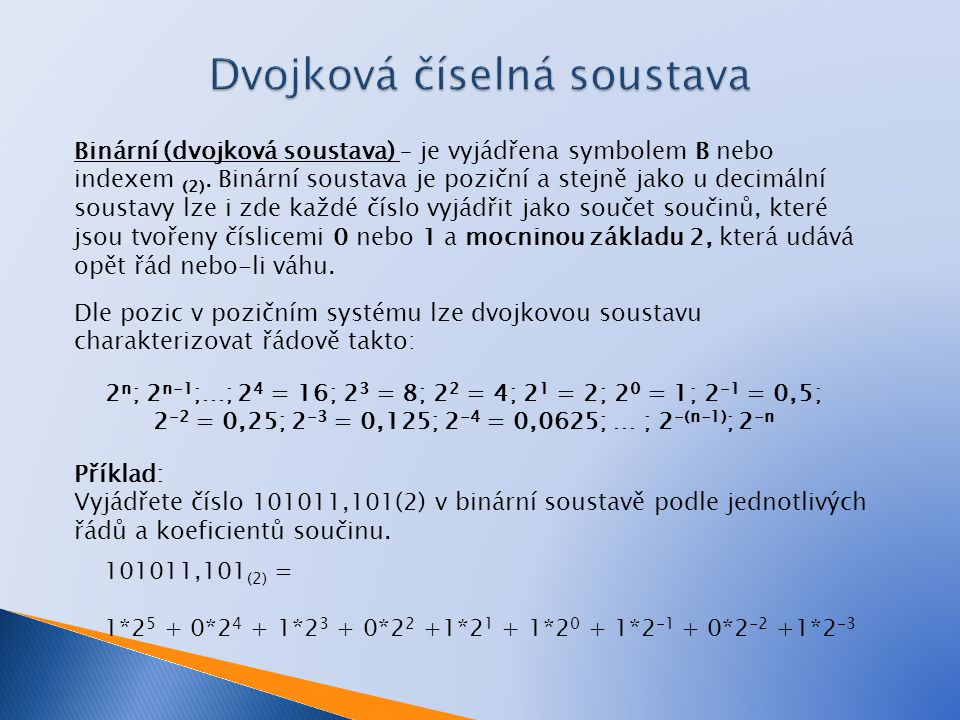Dvojková číselná soustava