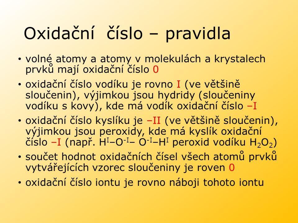 Oxidační číslo – pravidla