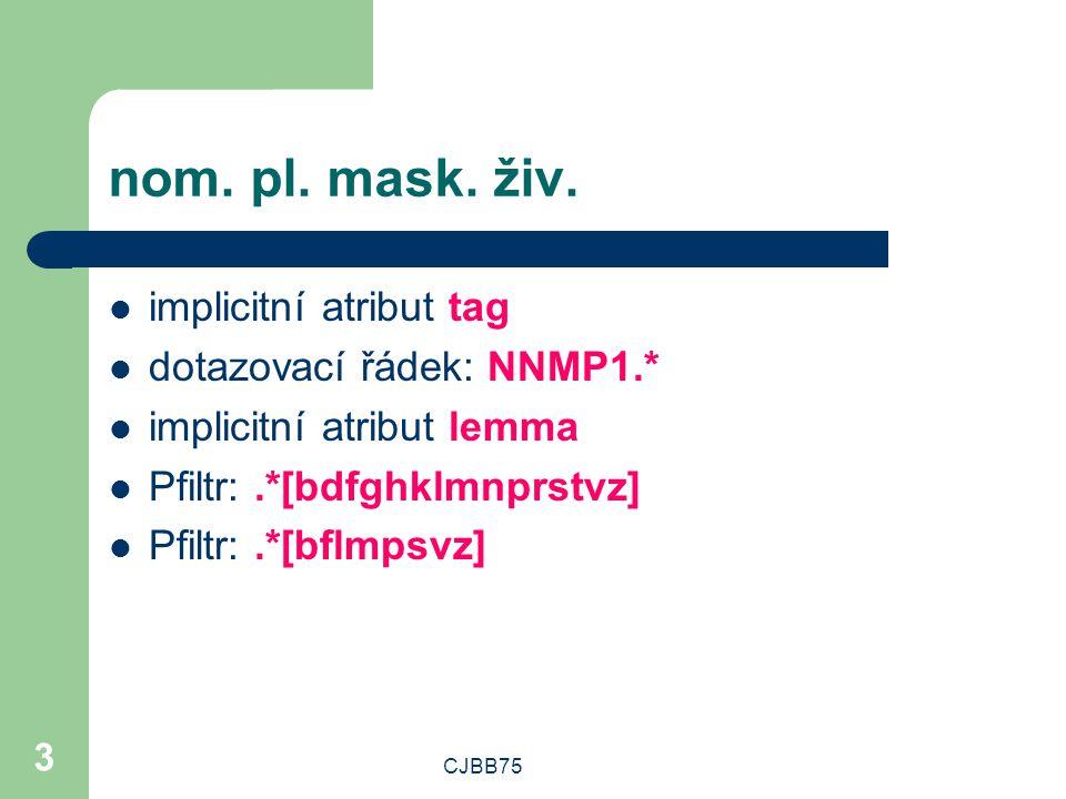 nom. pl. mask. živ. implicitní atribut tag dotazovací řádek: NNMP1.*