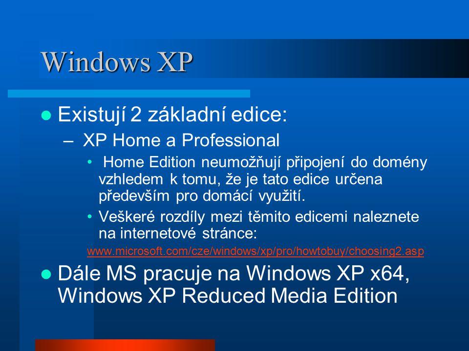 Windows XP Existují 2 základní edice:
