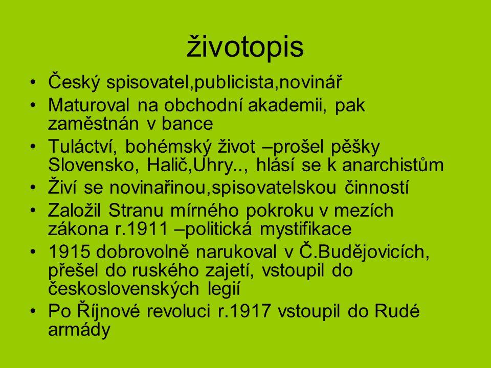 životopis Český spisovatel,publicista,novinář