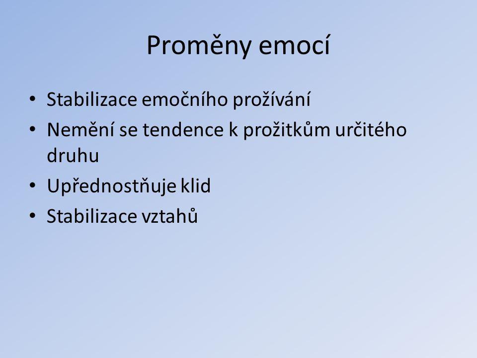 Proměny emocí Stabilizace emočního prožívání