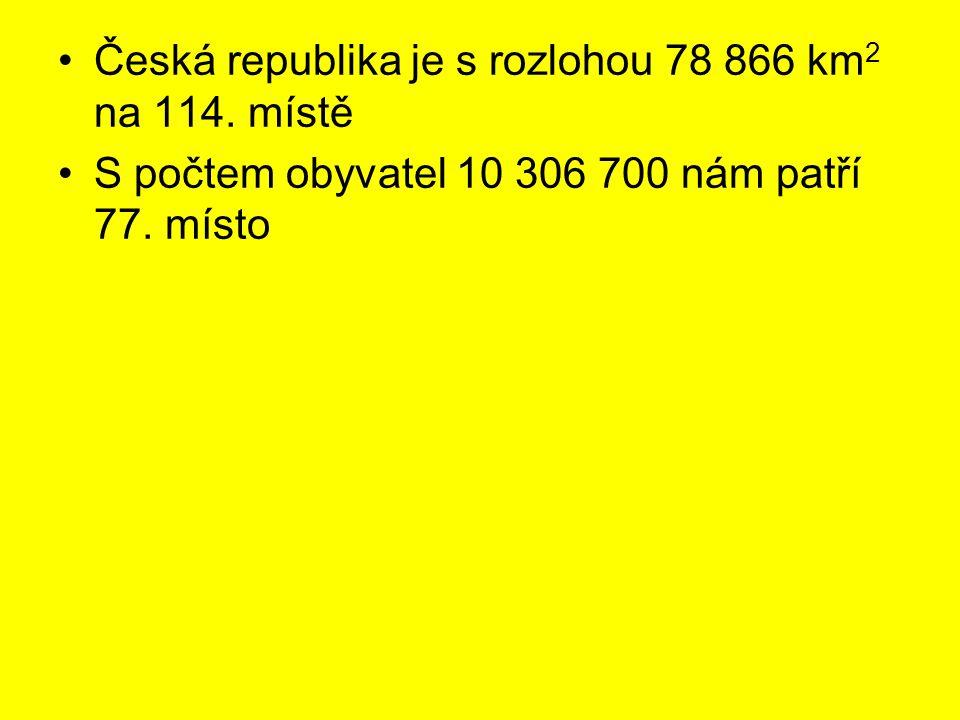 Česká republika je s rozlohou 78 866 km2 na 114. místě