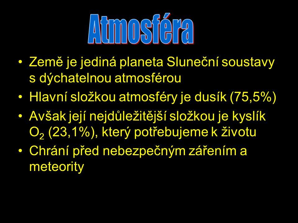 Atmosféra Země je jediná planeta Sluneční soustavy s dýchatelnou atmosférou. Hlavní složkou atmosféry je dusík (75,5%)