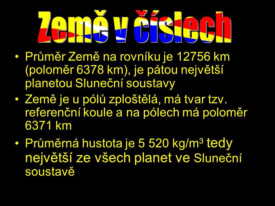 Země v číslech Průměr Země na rovníku je 12756 km (poloměr 6378 km), je pátou největší planetou Sluneční soustavy.