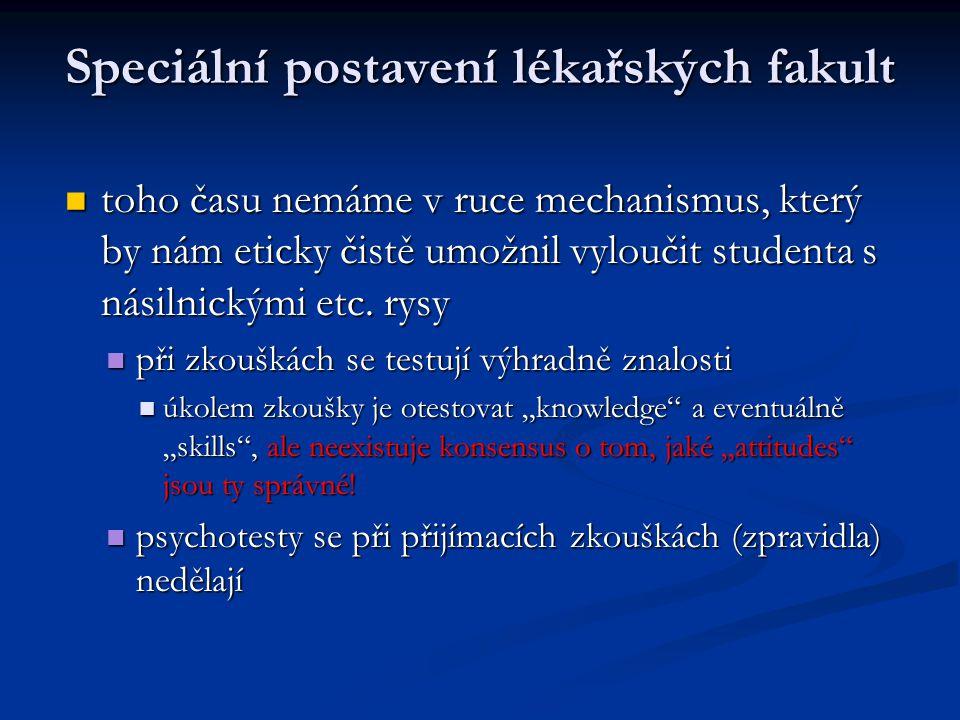 Speciální postavení lékařských fakult