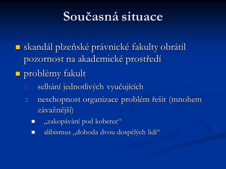 Současná situace skandál plzeňské právnické fakulty obrátil pozornost na akademické prostředí. problémy fakult.