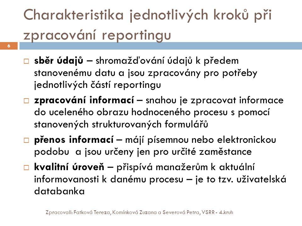 Charakteristika jednotlivých kroků při zpracování reportingu