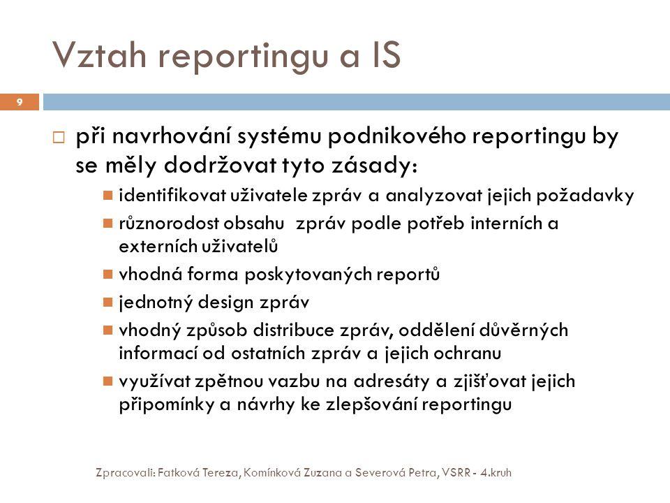 Vztah reportingu a IS při navrhování systému podnikového reportingu by se měly dodržovat tyto zásady: