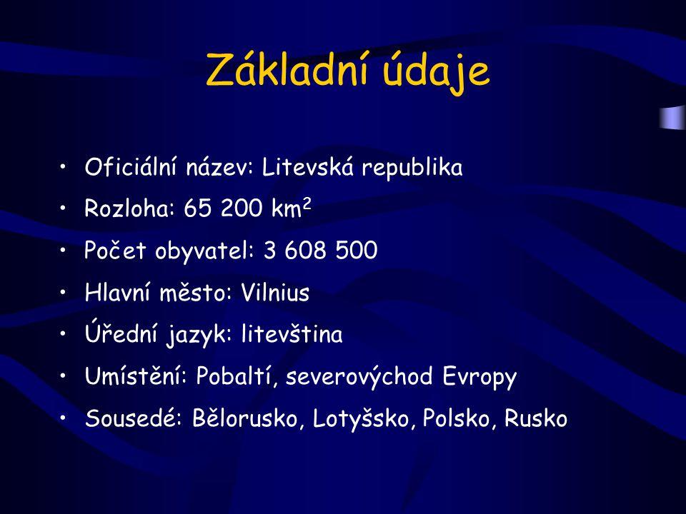 Základní údaje Oficiální název: Litevská republika Rozloha: 65 200 km2