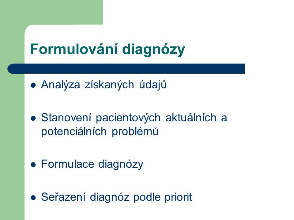 Formulování diagnózy Analýza získaných údajů