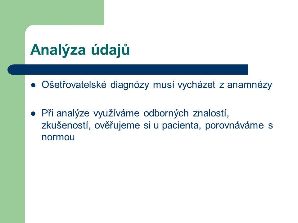 Analýza údajů Ošetřovatelské diagnózy musí vycházet z anamnézy