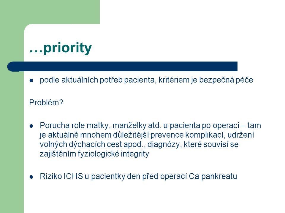 …priority podle aktuálních potřeb pacienta, kritériem je bezpečná péče