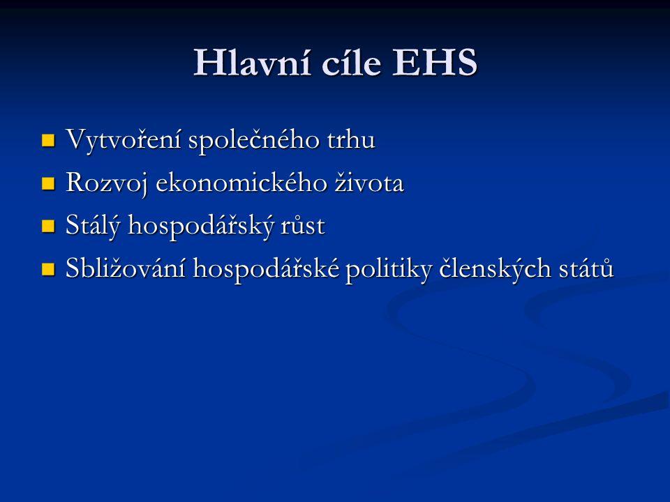 Hlavní cíle EHS Vytvoření společného trhu Rozvoj ekonomického života