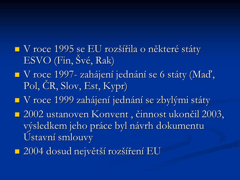 V roce 1995 se EU rozšířila o některé státy ESVO (Fin, Švé, Rak)