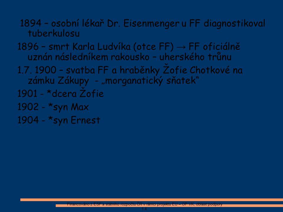 1894 – osobní lékař Dr. Eisenmenger u FF diagnostikoval tuberkulosu