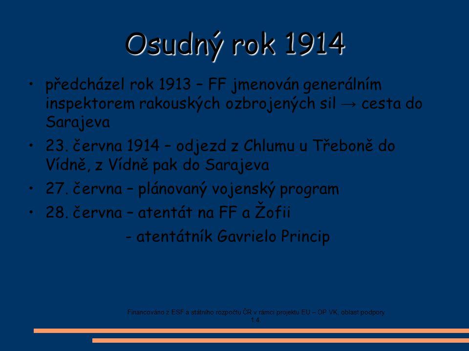Osudný rok 1914 předcházel rok 1913 – FF jmenován generálním inspektorem rakouských ozbrojených sil → cesta do Sarajeva.