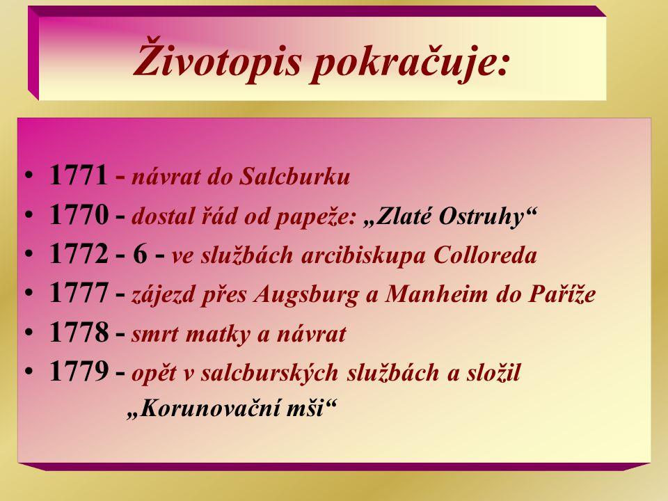 Životopis pokračuje: 1771 - návrat do Salcburku