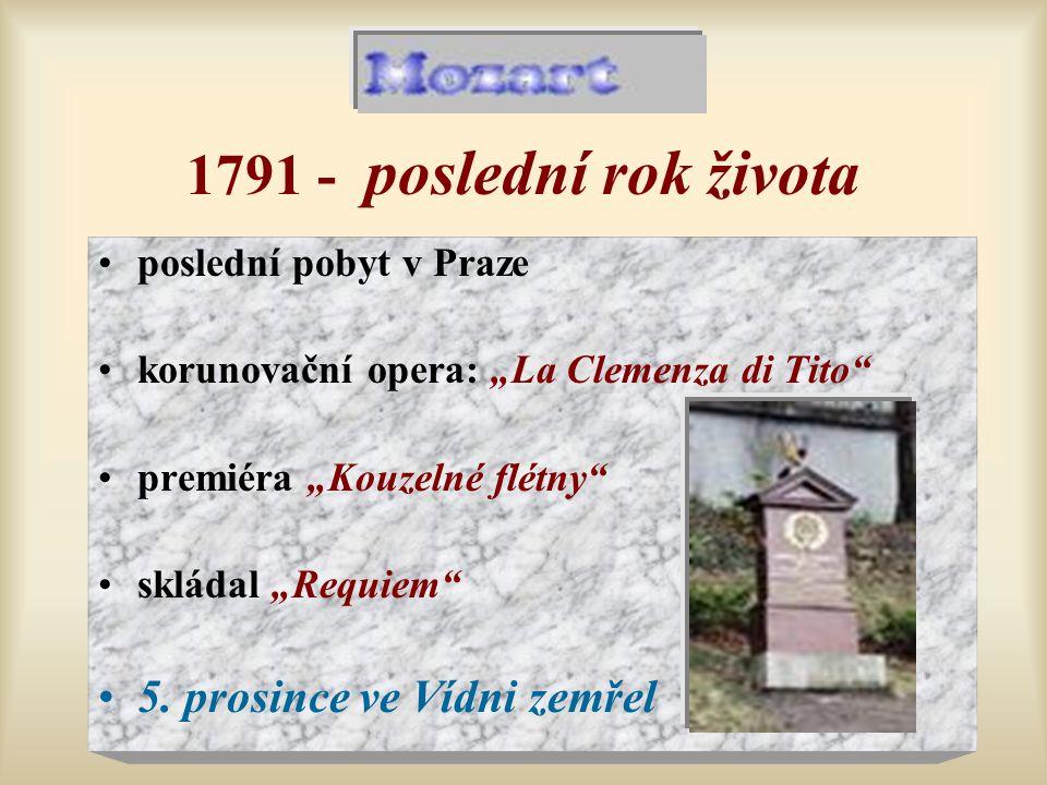 1791 - poslední rok života 5. prosince ve Vídni zemřel