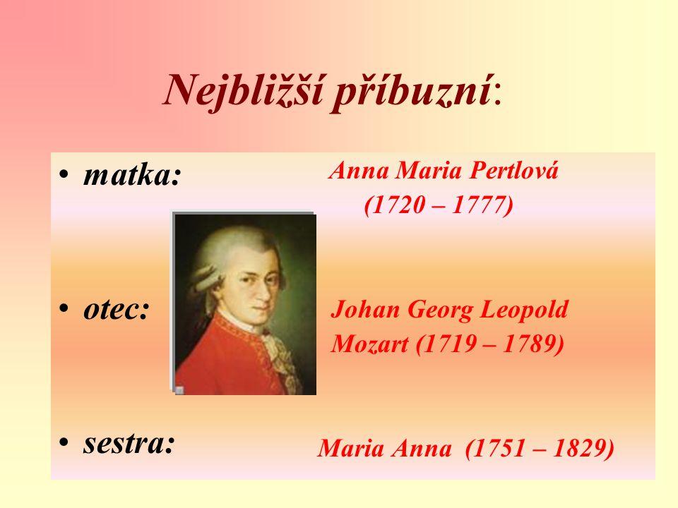 Nejbližší příbuzní: matka: otec: sestra: (1720 – 1777)