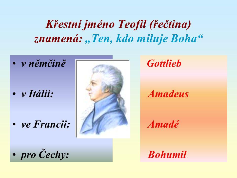 """Křestní jméno Teofil (řečtina) znamená: """"Ten, kdo miluje Boha"""
