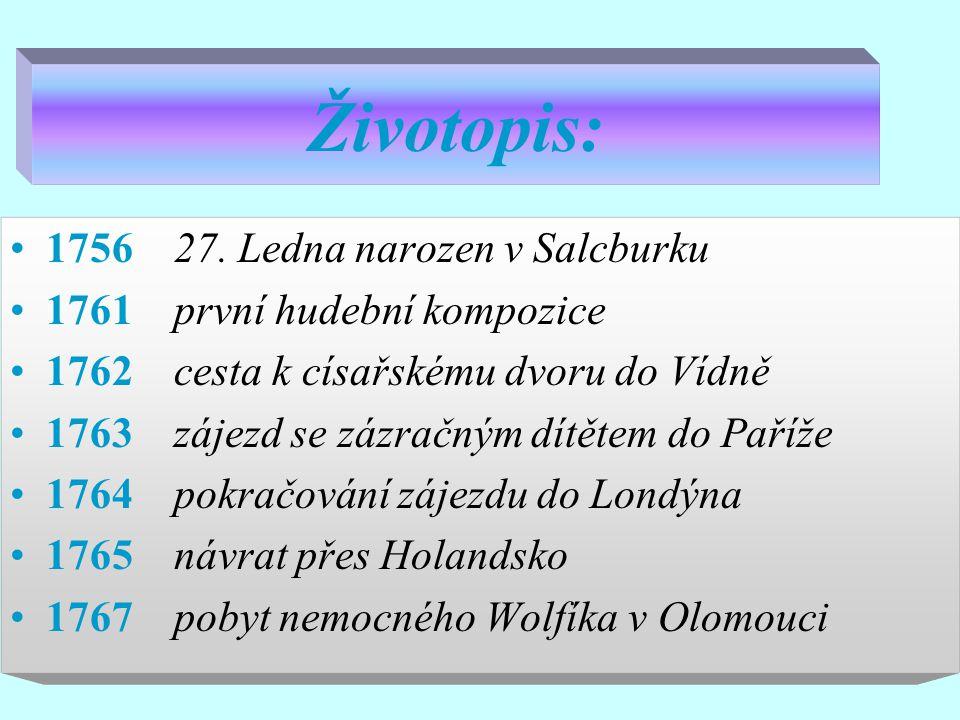 Životopis: 1756 27. Ledna narozen v Salcburku