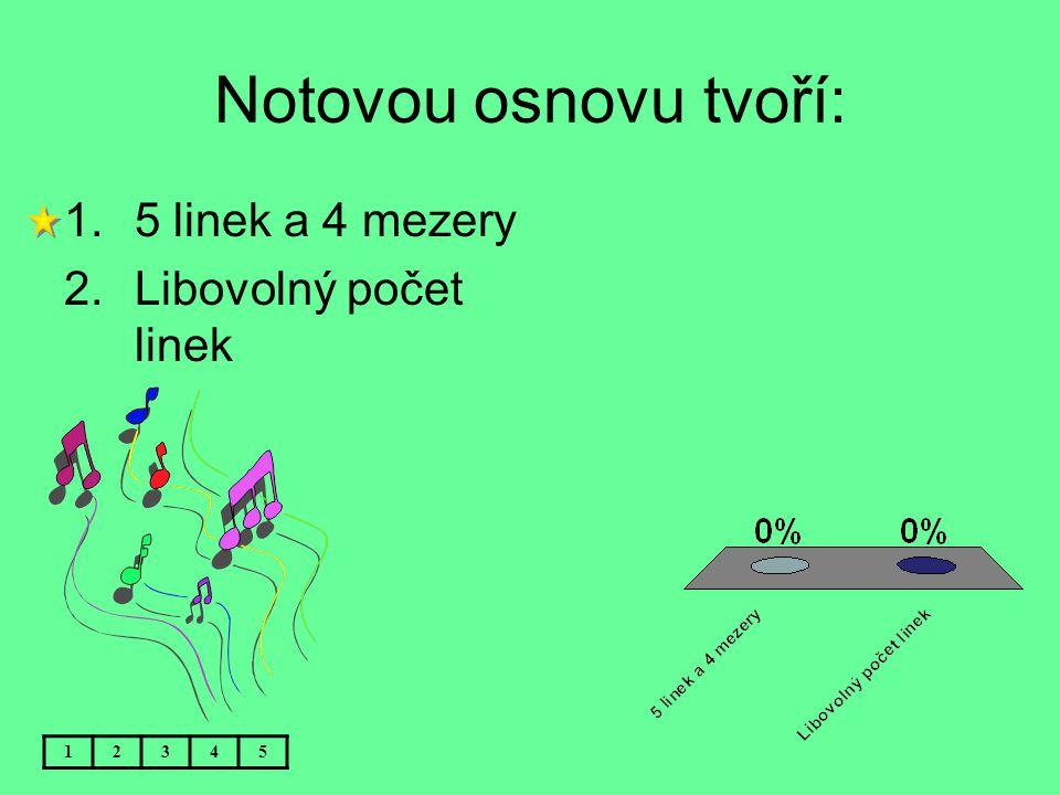 Notovou osnovu tvoří: 5 linek a 4 mezery Libovolný počet linek 1 2 3 4