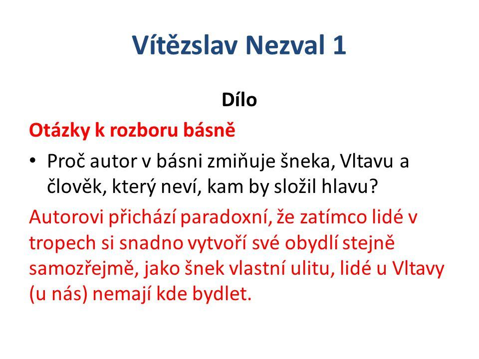 Vítězslav Nezval 1 Dílo Otázky k rozboru básně