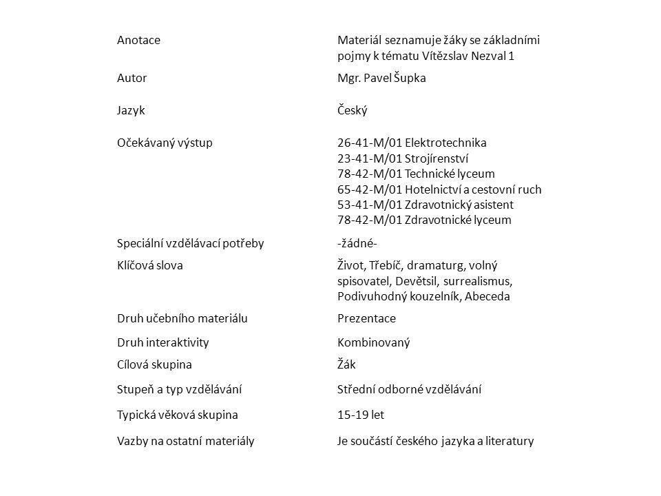 Anotace Materiál seznamuje žáky se základními pojmy k tématu Vítězslav Nezval 1. Autor. Mgr. Pavel Šupka.