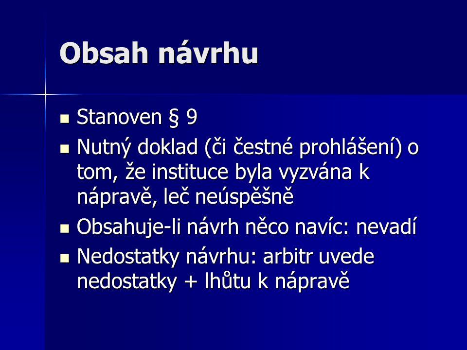 Obsah návrhu Stanoven § 9