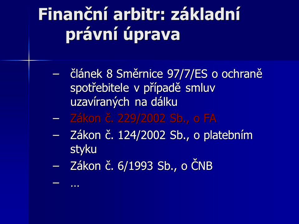 Finanční arbitr: základní právní úprava