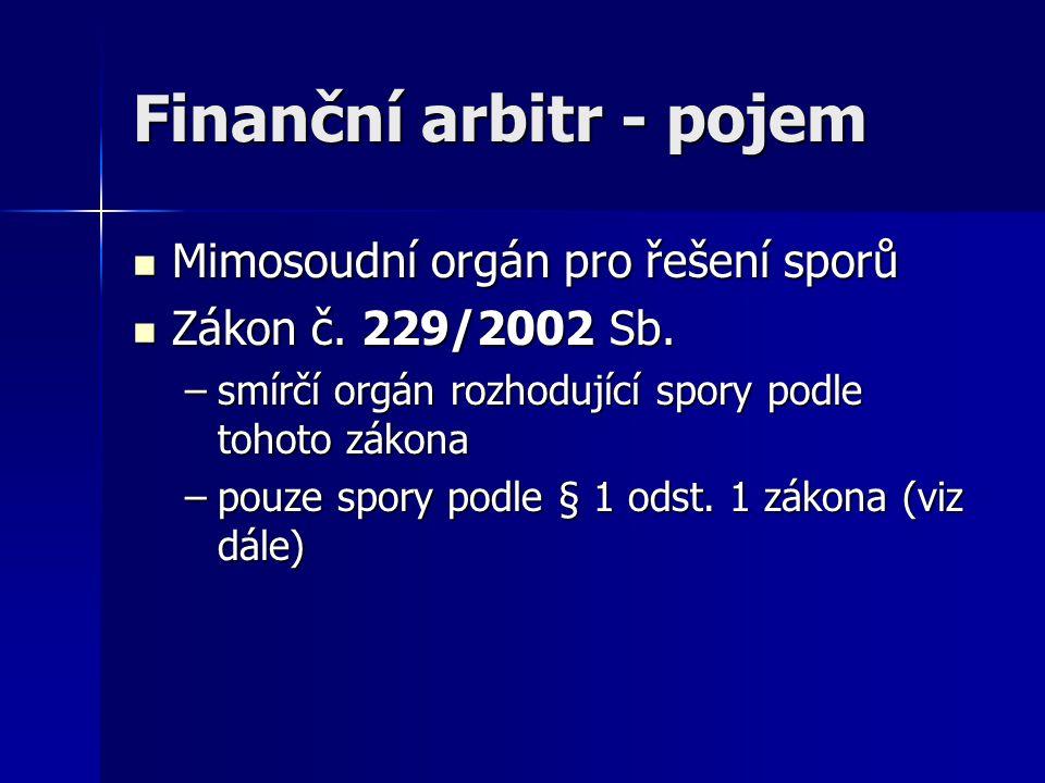 Finanční arbitr - pojem