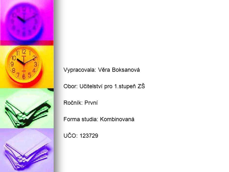 Vypracovala: Věra Boksanová