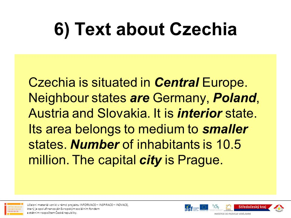 6) Text about Czechia
