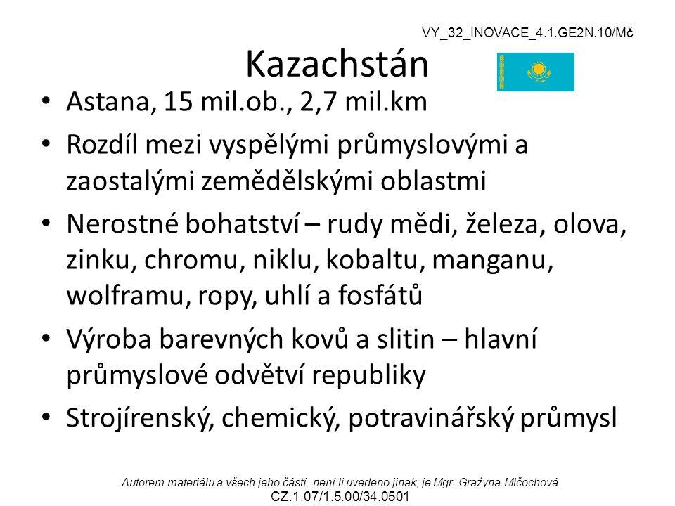 Kazachstán Astana, 15 mil.ob., 2,7 mil.km