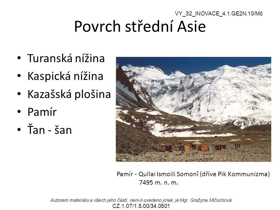 Povrch střední Asie Turanská nížina Kaspická nížina Kazašská plošina