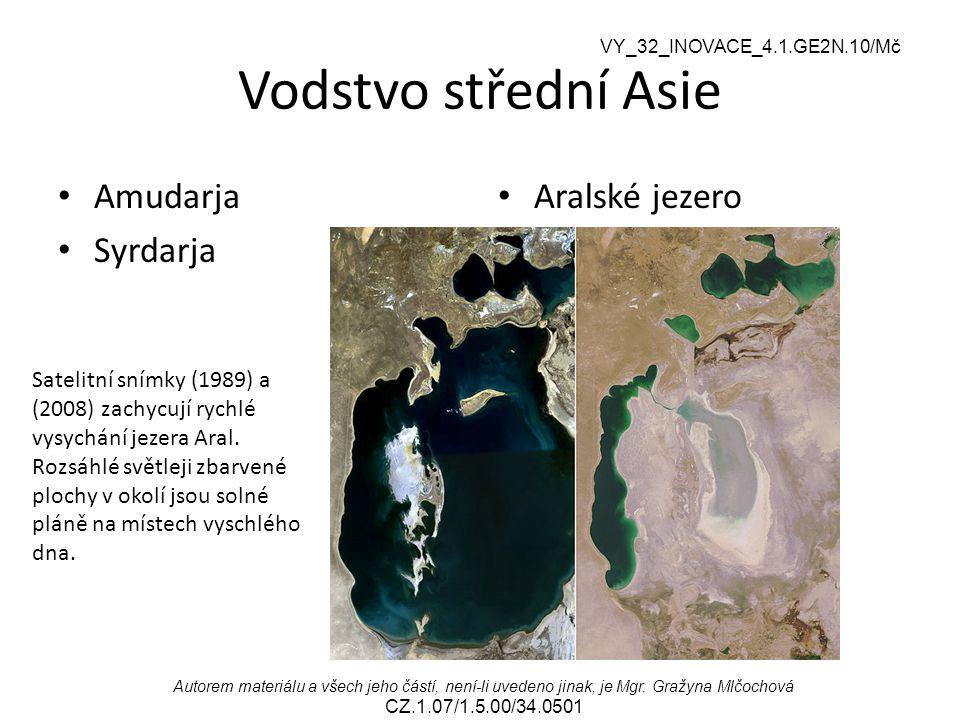 Vodstvo střední Asie Amudarja Syrdarja Aralské jezero
