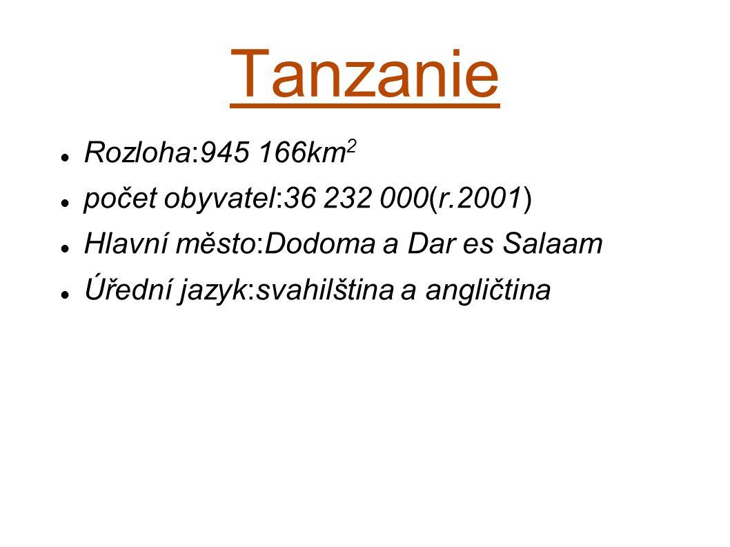 Tanzanie Rozloha:945 166km2 počet obyvatel:36 232 000(r.2001)