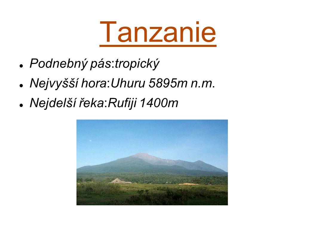 Tanzanie Podnebný pás:tropický Nejvyšší hora:Uhuru 5895m n.m.