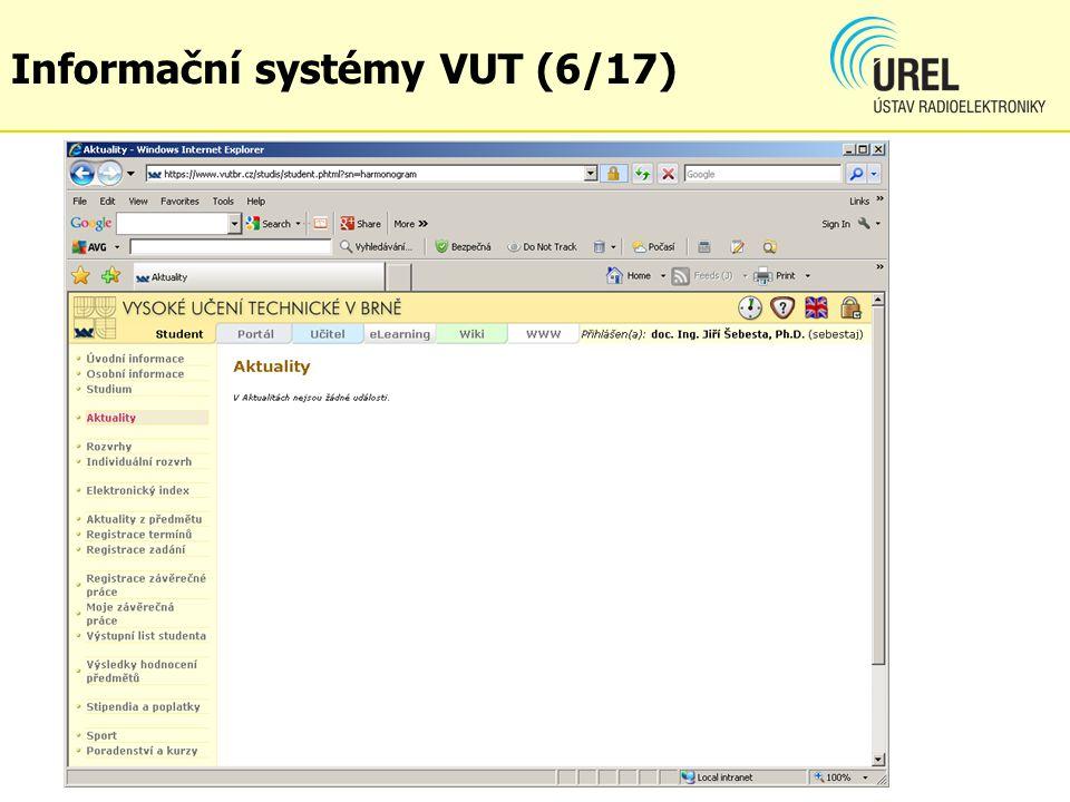 Informační systémy VUT (6/17)