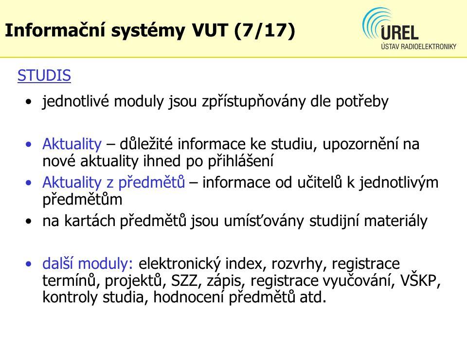 Informační systémy VUT (7/17)