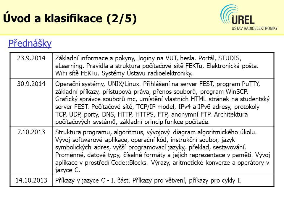 Úvod a klasifikace (2/5) Přednášky 23.9.2014