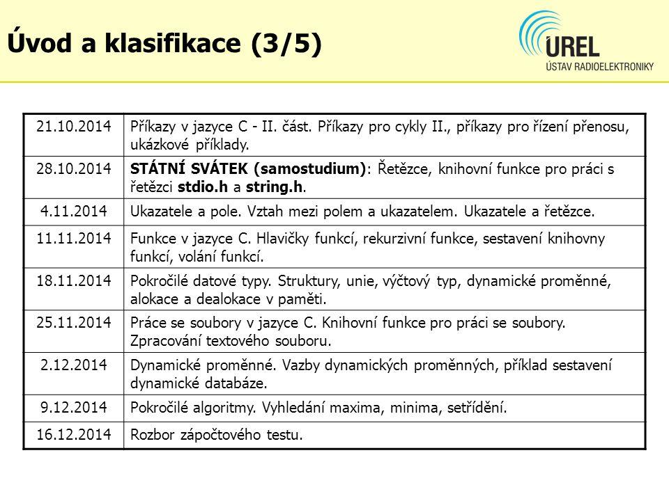 Úvod a klasifikace (3/5) 21.10.2014. Příkazy v jazyce C - II. část. Příkazy pro cykly II., příkazy pro řízení přenosu, ukázkové příklady.