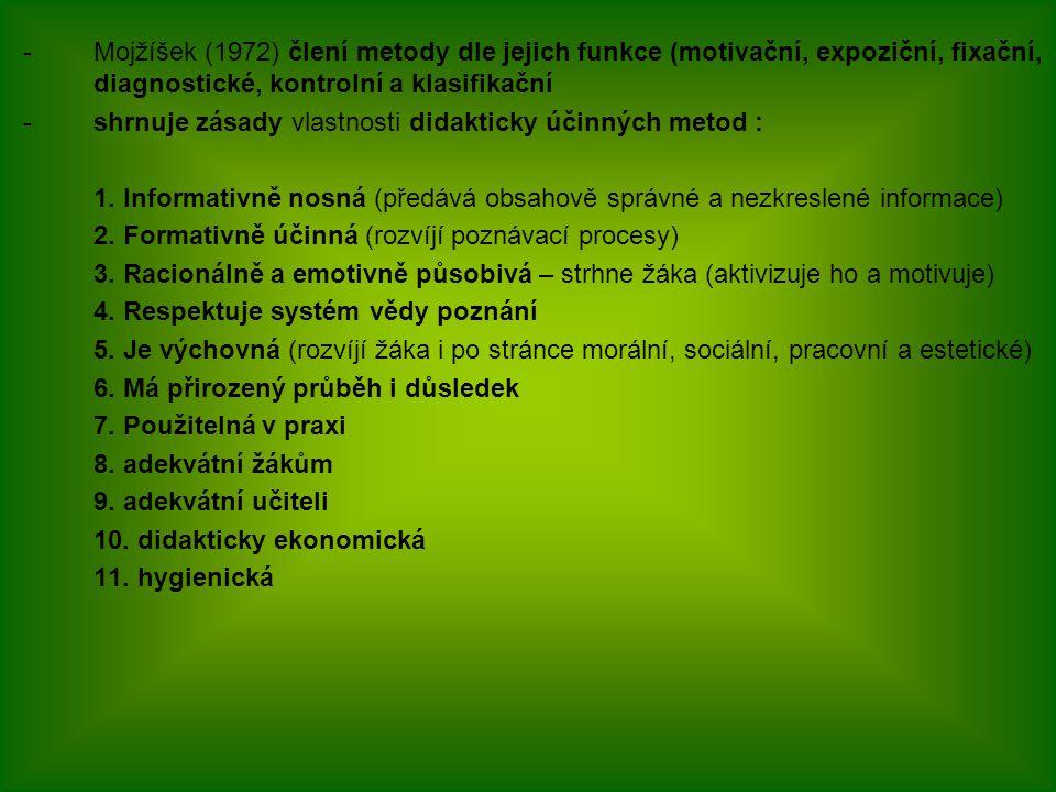 Mojžíšek (1972) člení metody dle jejich funkce (motivační, expoziční, fixační, diagnostické, kontrolní a klasifikační