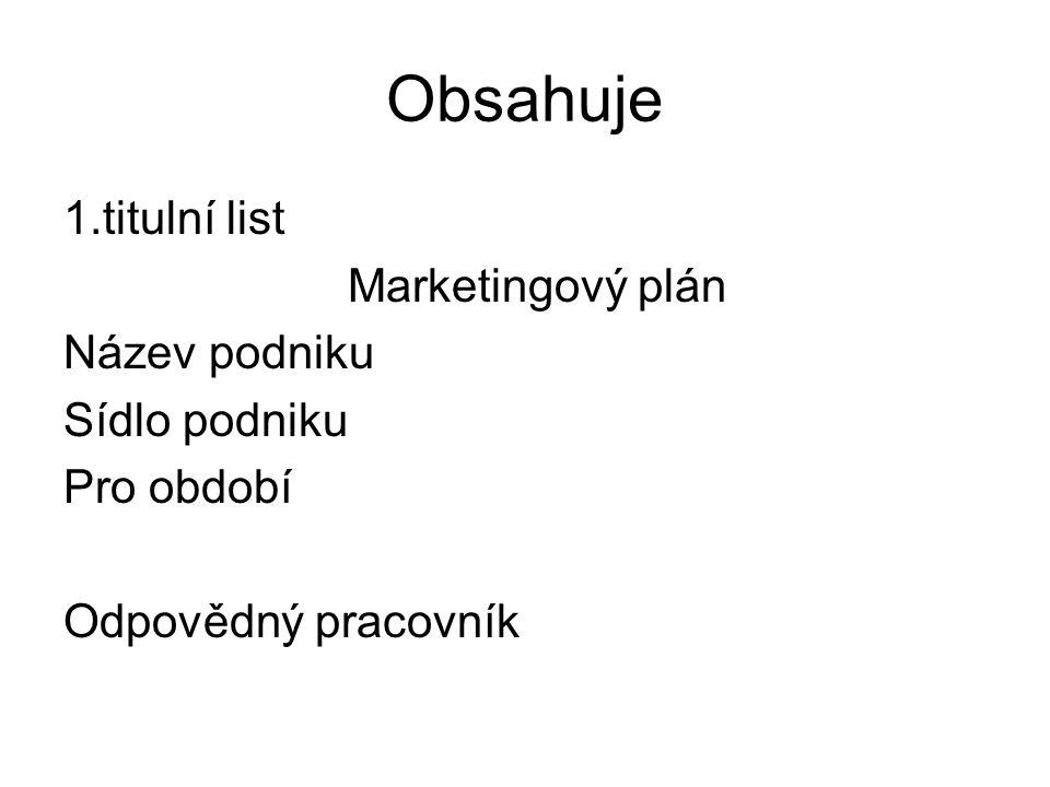 Obsahuje 1.titulní list Marketingový plán Název podniku Sídlo podniku