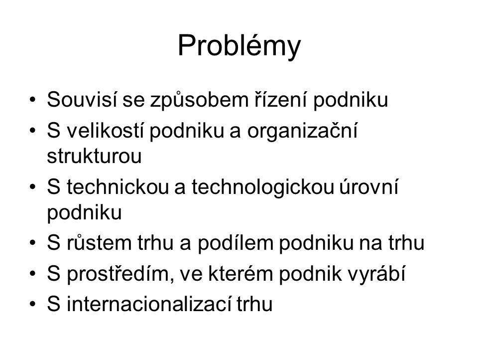 Problémy Souvisí se způsobem řízení podniku
