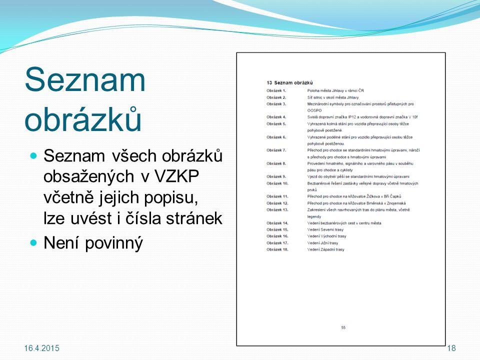 Seznam obrázků Seznam všech obrázků obsažených v VZKP včetně jejich popisu, lze uvést i čísla stránek.