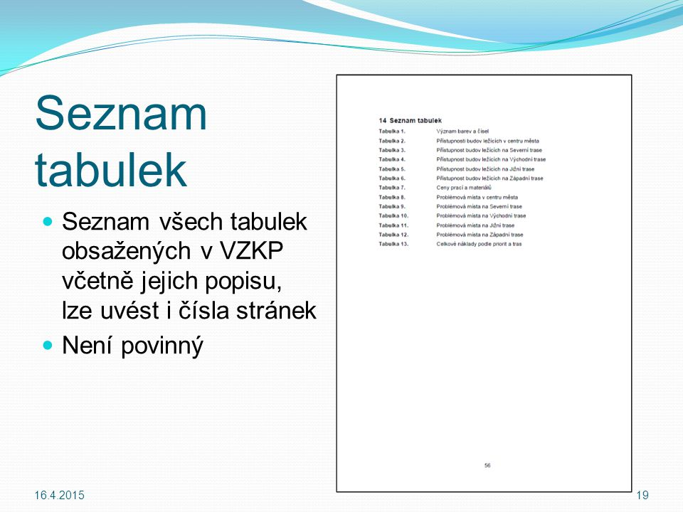 Seznam tabulek Seznam všech tabulek obsažených v VZKP včetně jejich popisu, lze uvést i čísla stránek.