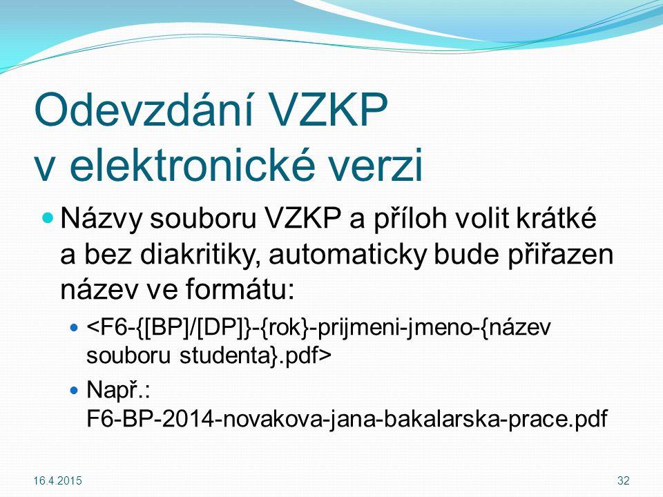 Odevzdání VZKP v elektronické verzi